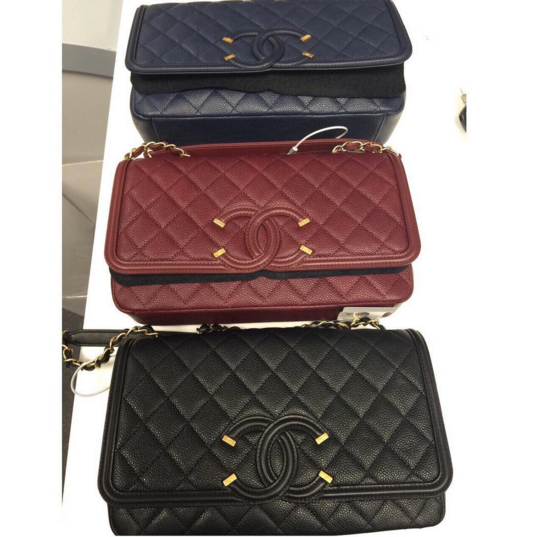 47fc8bb3061d Chanel Blue/Burgundy/Black Beige CC Filigree Flap Bags | It's In the ...
