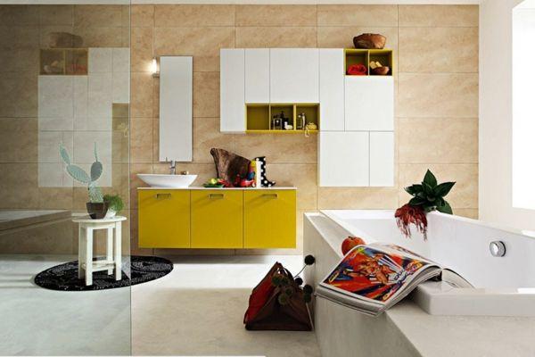 Badezimmer Minimalistisch Gelbe Farbe Bad Möbel