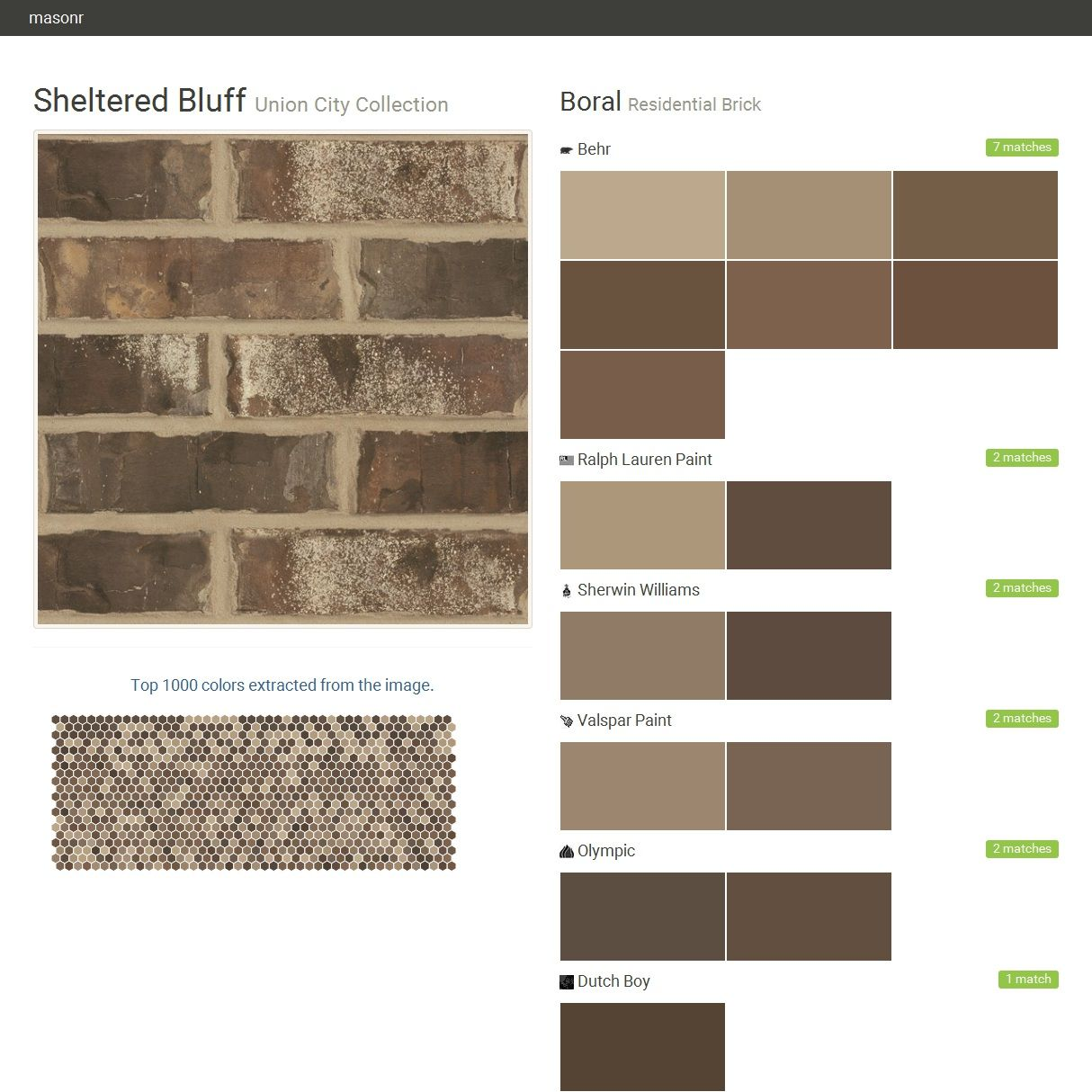 Sheltered Bluff. Union City Collection. Residential Brick. Boral. Behr.  Ralph Lauren