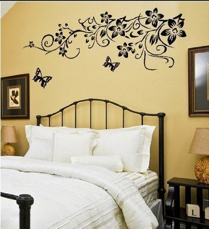 Large Wall Decals Large Flower Butterfly Removable Wall Sticker Home Decor Art Decal Black Home Home Decor Wall Stickers Home Decor