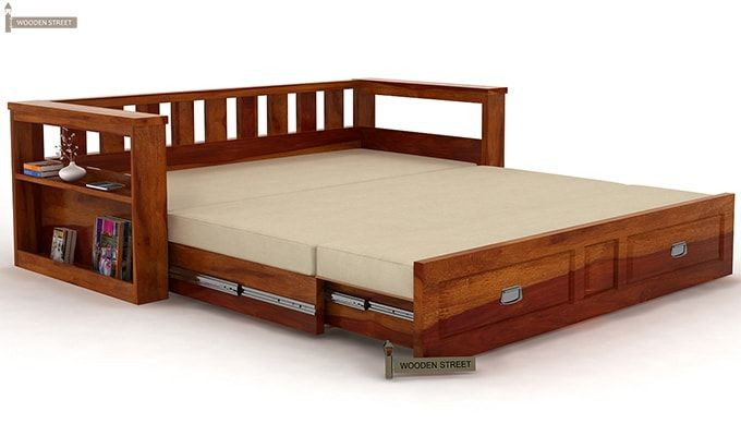 Riota Couch Bed With Storage King Size Walnut Finish
