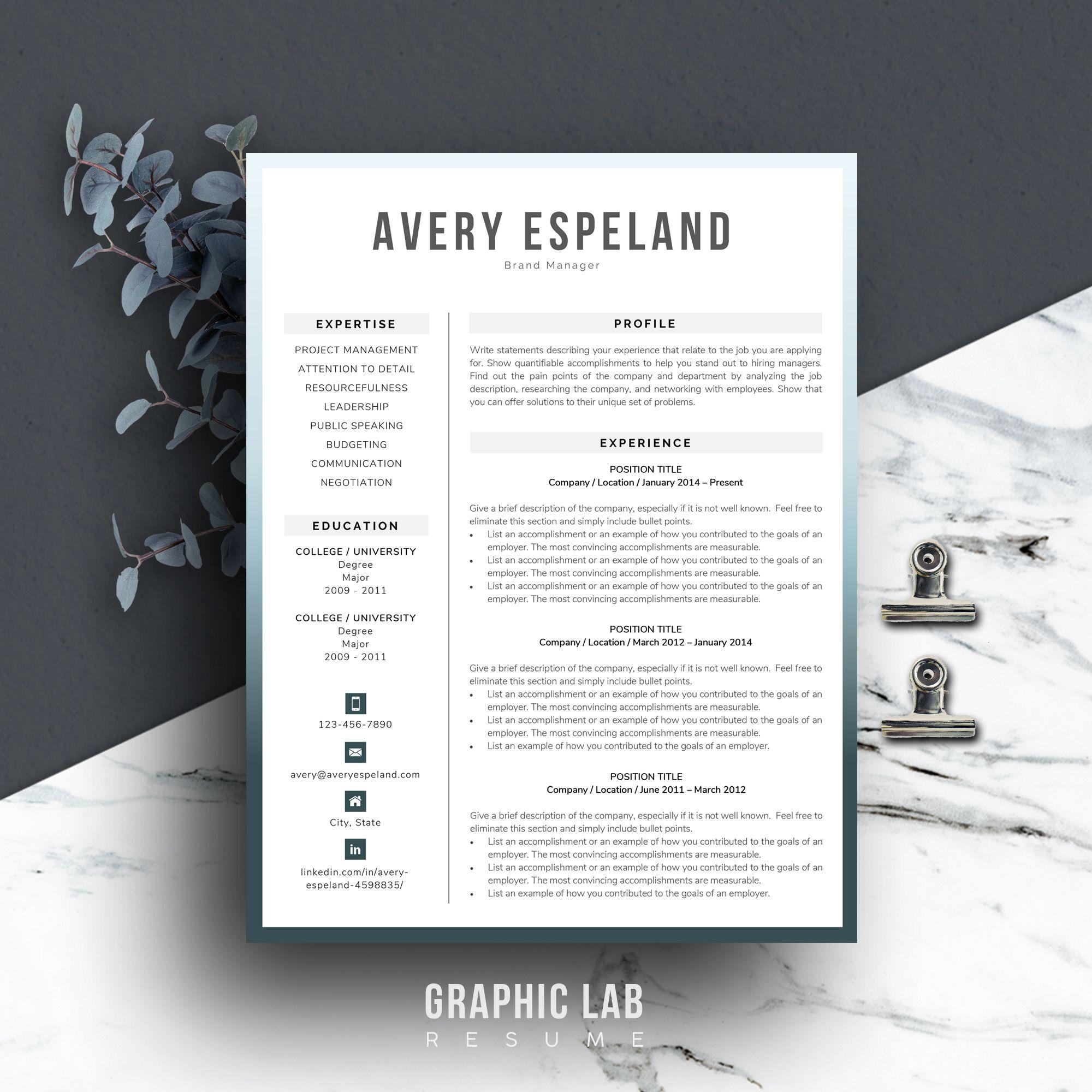 Modern Resume Template Cv Template Word Creative Resume Etsy Modern Resume Template Cv Template Word Resume Template