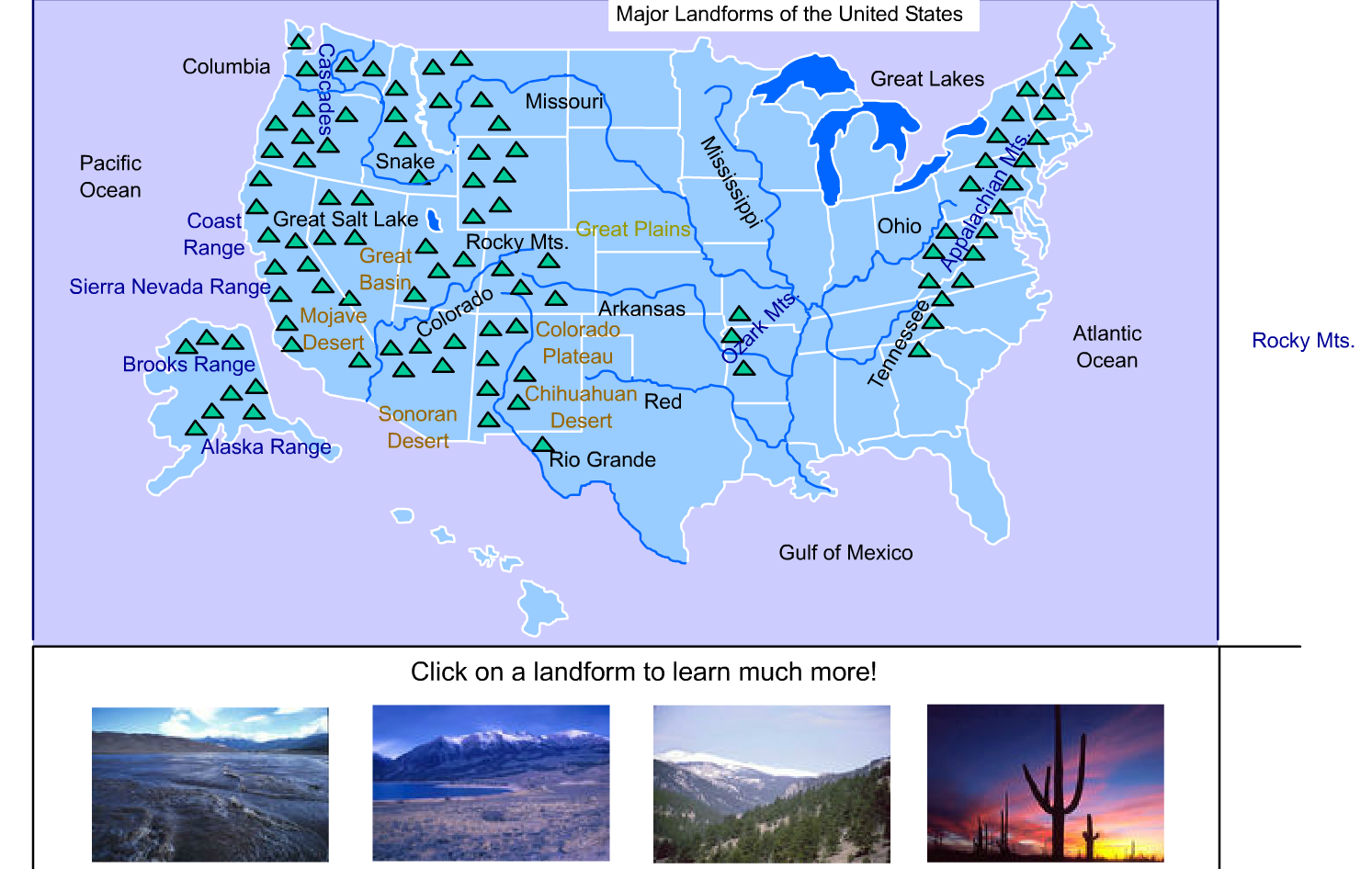 16 GEOGRAPHY Major Landforms of the United States interactive map