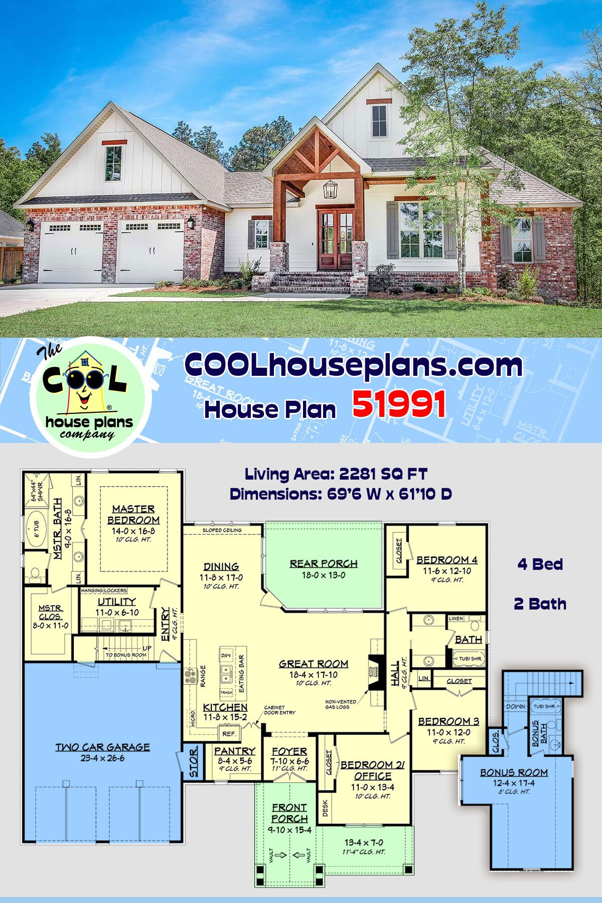 Traditional Style House Plan 51991 With 4 Bed 2 Bath 2 Car Garage Craftsman House Plans New House Plans House Plans