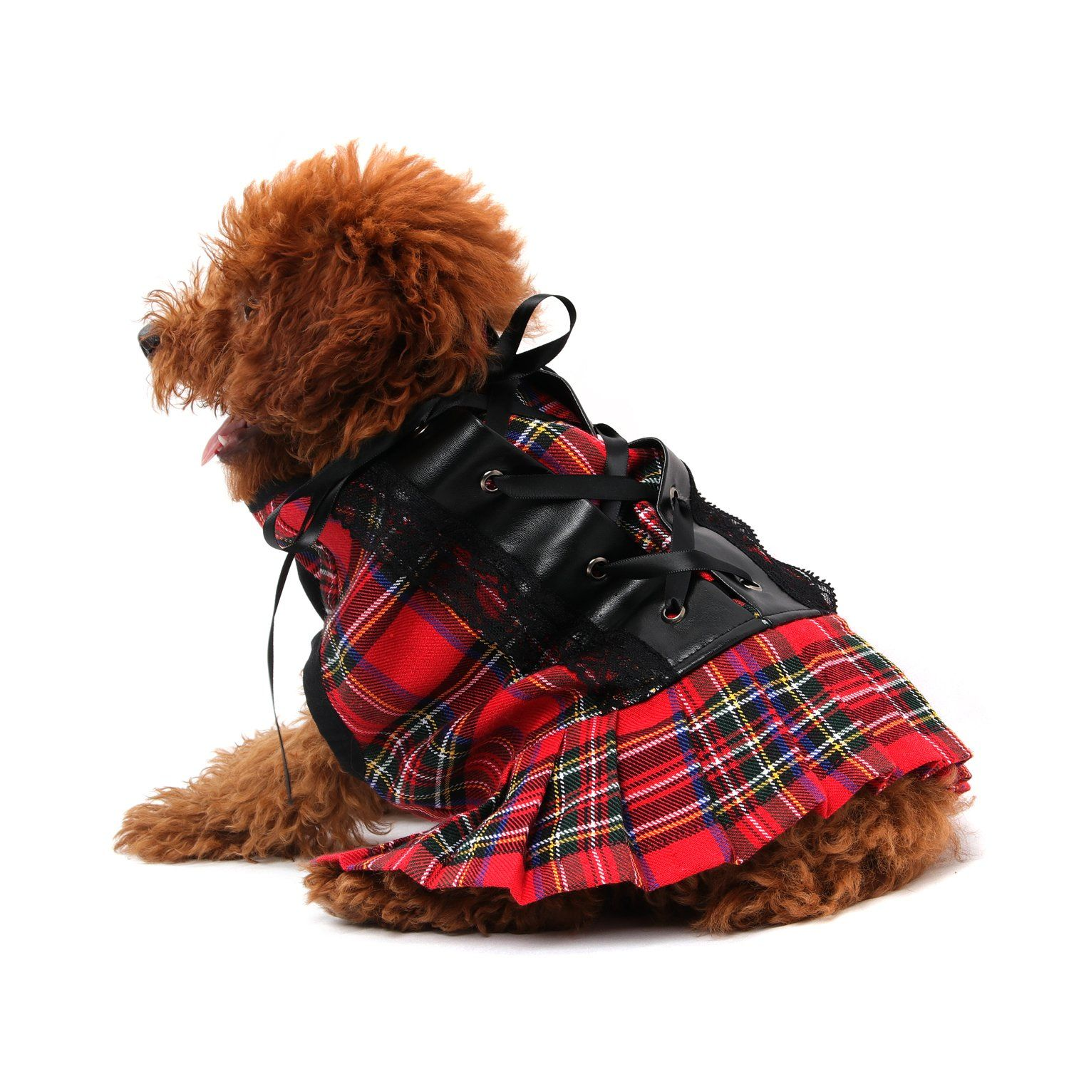 HBuir Tartan Plaid Skirt Laceup Clothes Party and