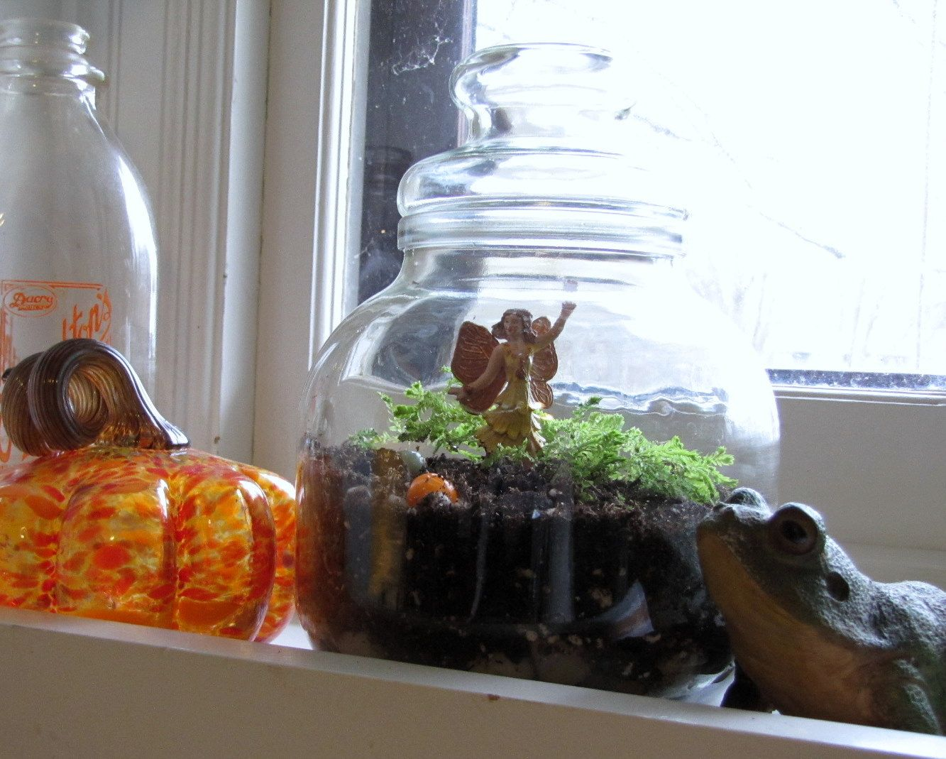 thrifting thursday winter fairy garden in a glass cookie jar