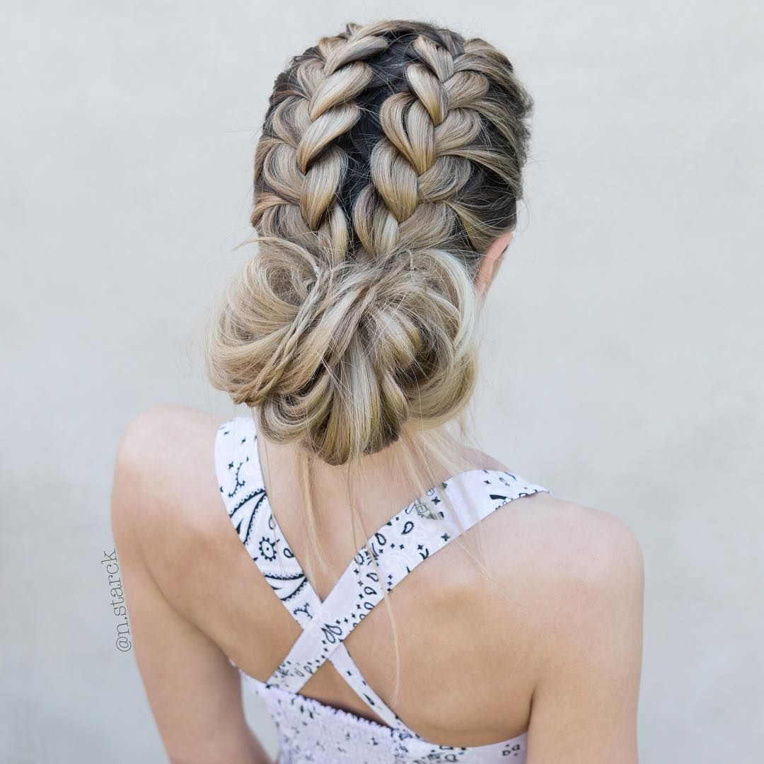 Double French Messy Bun - double dtuch braids #hairstyle #hair #braids