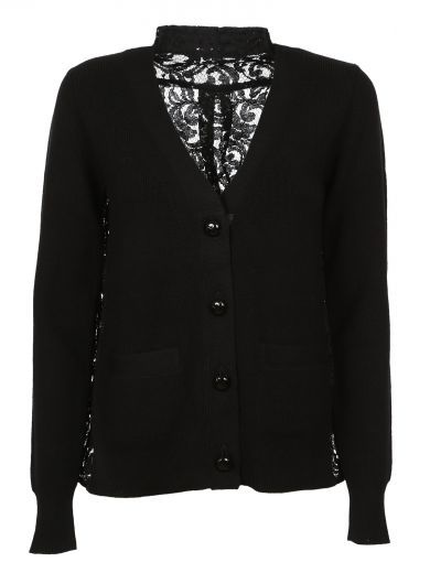 SACAI Black Lace Back Cardigan. #sacai #cloth #sweaters ...