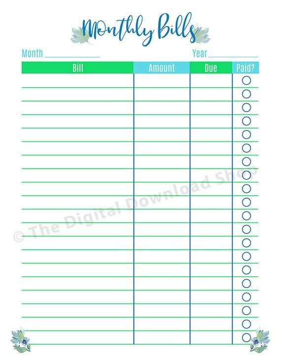 Bill Payments Calendar Personal Finance Organizing Printables