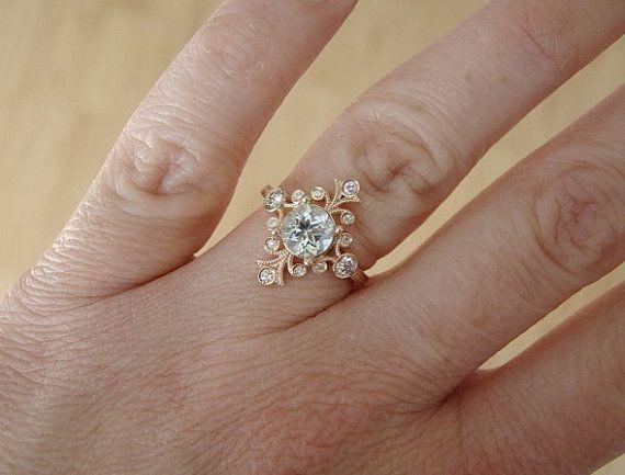 aquamarine and diamond victorian engagement ring vintage antique art nouveau art deco aqua blue pink flower rose gold the fountainhead love this unique - Victorian Wedding Rings