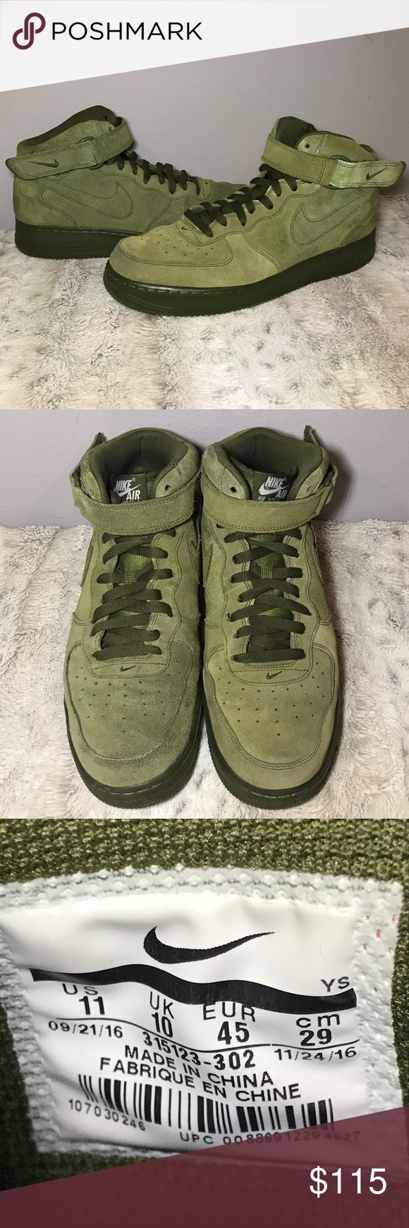 Nike Women Sf Air Force 1 Mid (olive outdoor green light pumice)
