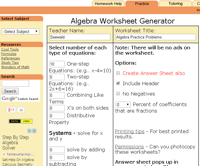 Vast Amount of Algebra Worksheets to print and create new every time ...