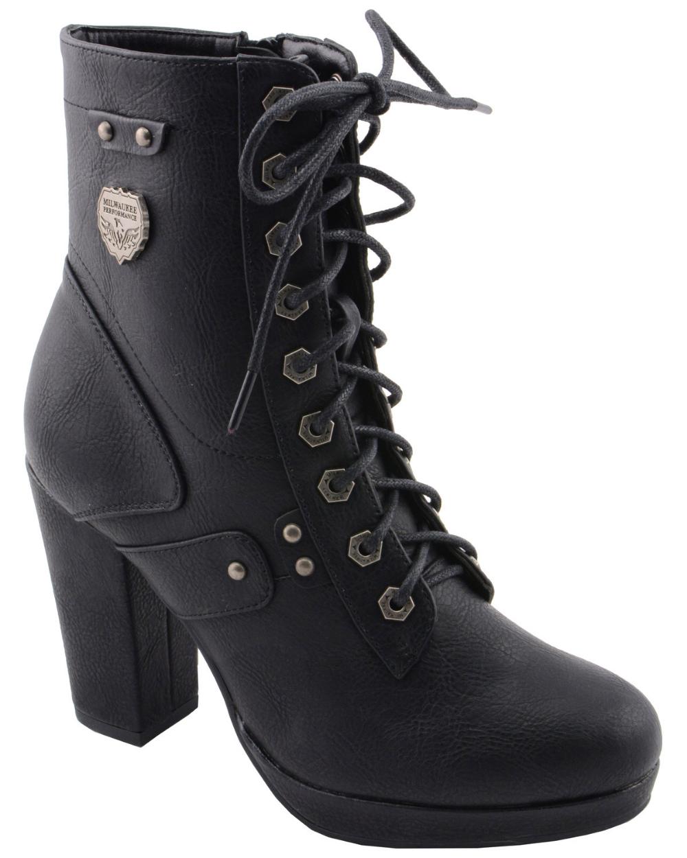 Milwaukee Leather Women's Lace Toe Toe Platform Boots - Round Toe