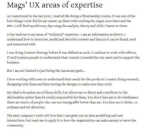 Resume and narration of skills interests on Tumblr (Jane Bozarth - resume interests