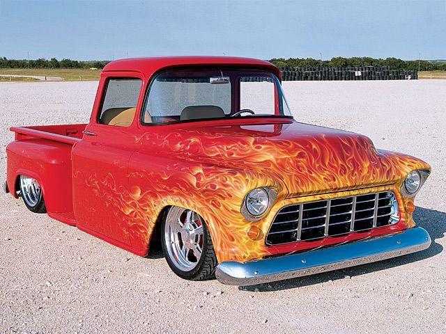 Real Flame 55 Chevy Truck Classic Pickup Trucks Chevy Trucks