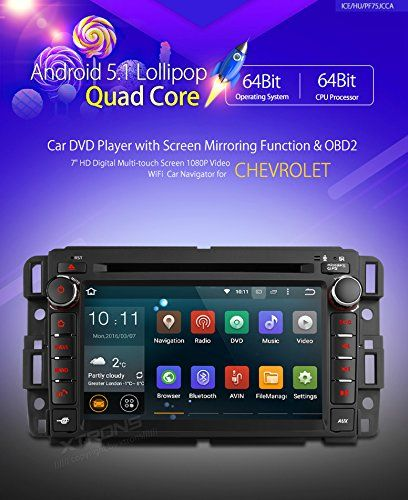 """XTRONS® 7"""" Android 5.1 Lollipop Quad Core HD Touch Screen Car Stereo Radio DVD Player with GPS Navigator Bluetooth Screen Mirroring Function OBD2 for GMC Chevrolet. 64Bit Quad Core CPU Processor @1.6GHz. Android 5.1 Lollipop Operating System. Supports Steering Wheel Control (CAN-bus Box Provided),Super-clear 1080P Video Enjoyment. Wireless Screen Mirroring (Smartphone Entertainment Sharing). 1024*600 Superior Visual Enhancement."""