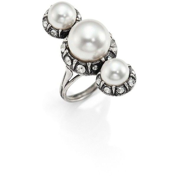 Lanvin Faux-pearl and crystal-embellished ring Ew1u55