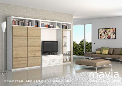 Photo of Arredamento di interni: 3d Rendering di interni: parete attrezzata moderna …