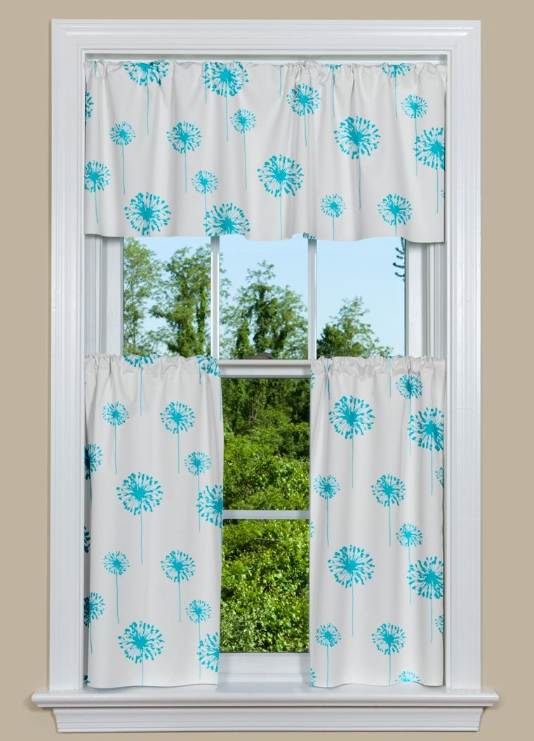 Modern kitchen curtain have beautiful dandelions in turquoise against a white background