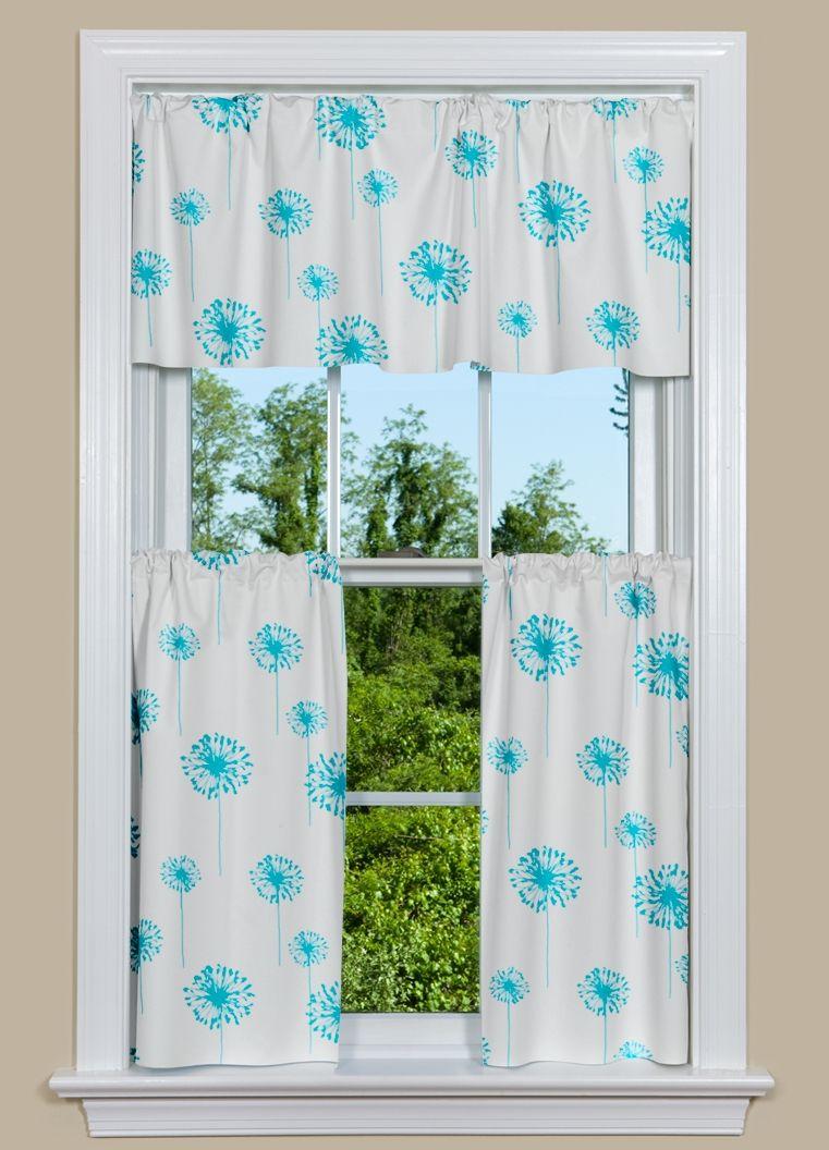 Modern kitchen curtain have beautiful dandelions in