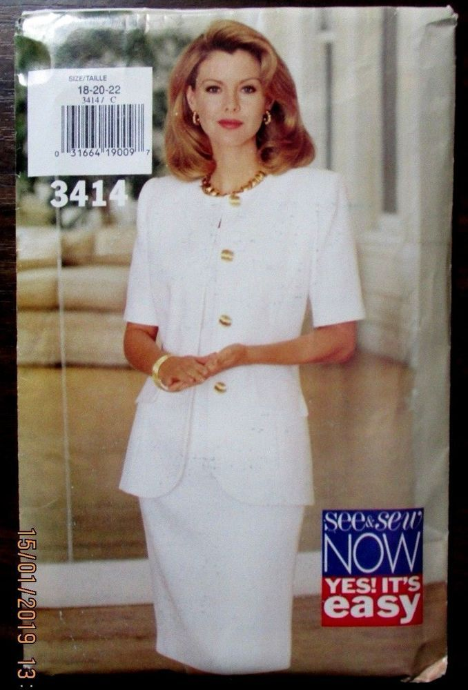 See&sew sewing pattern no. 3414 sizes 18-20-22 ladies suit | Sewing ...