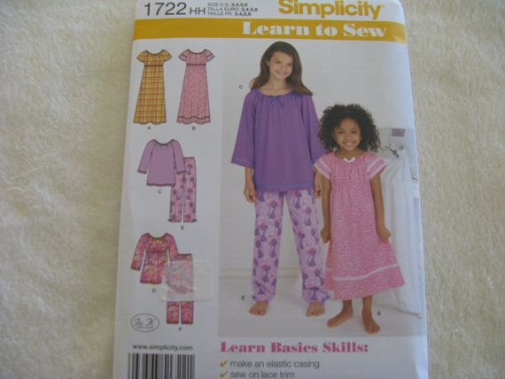 Simplicity Girls Pajama Pattern 1722 by KCDesignandBuild on Etsy, $3.00