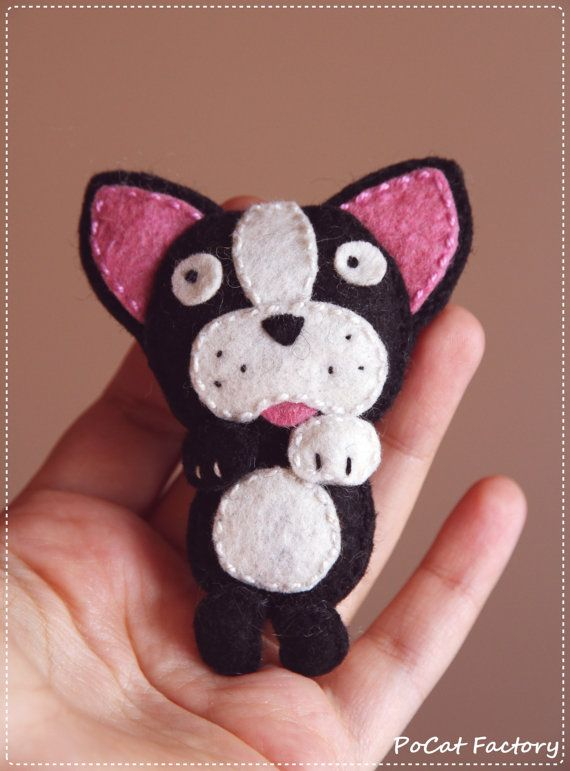 Felt Pocket Boston terrier dog brooch keychain magnet