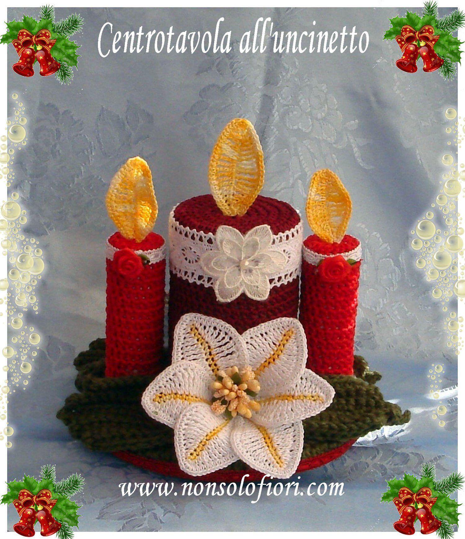 Centrotavola Natalizi Alluncinetto.Centrotavola Natalizio All Uncinetto Con Gigli E Ceri Crochet 6