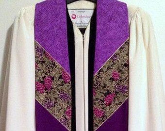 P14 - Purple Clergy Stole w/ Three Crosses
