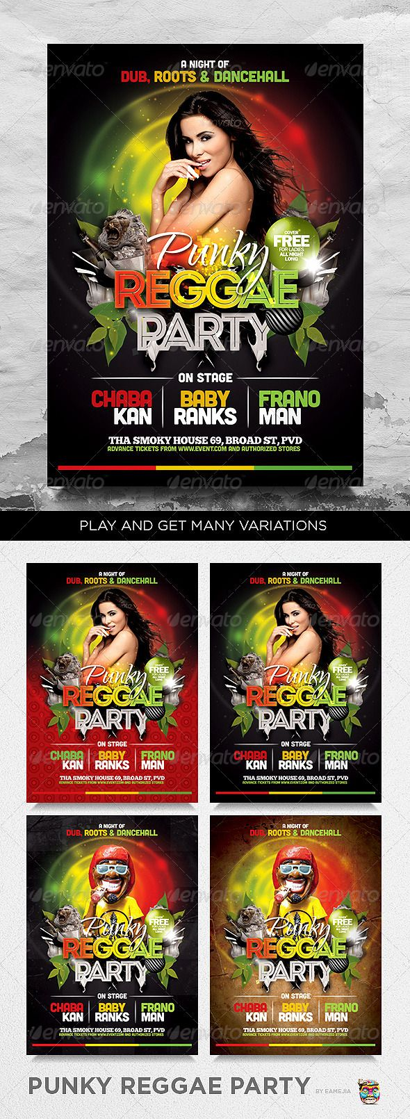 barbecue night psd flyer template favor punky reggae party flyer template