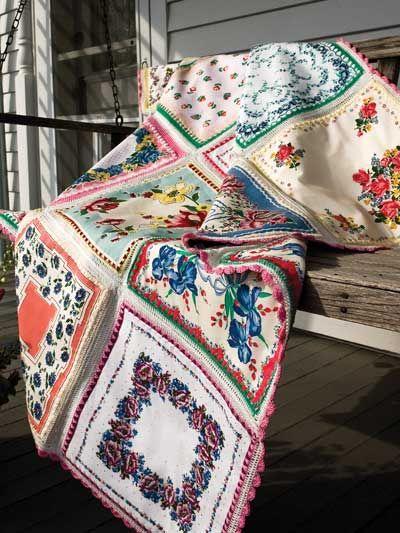 Hankie Blankie - great idea. Crochet an edging onto pre-made ...