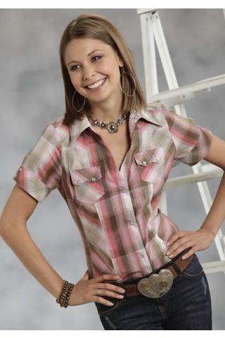 Women's Short Sleeve Roper 7922 Pink Lurex Plaid Shirt Five Star ...