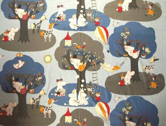 Moomin fabric sky blue with moomin characters cotton for Kids character fabric