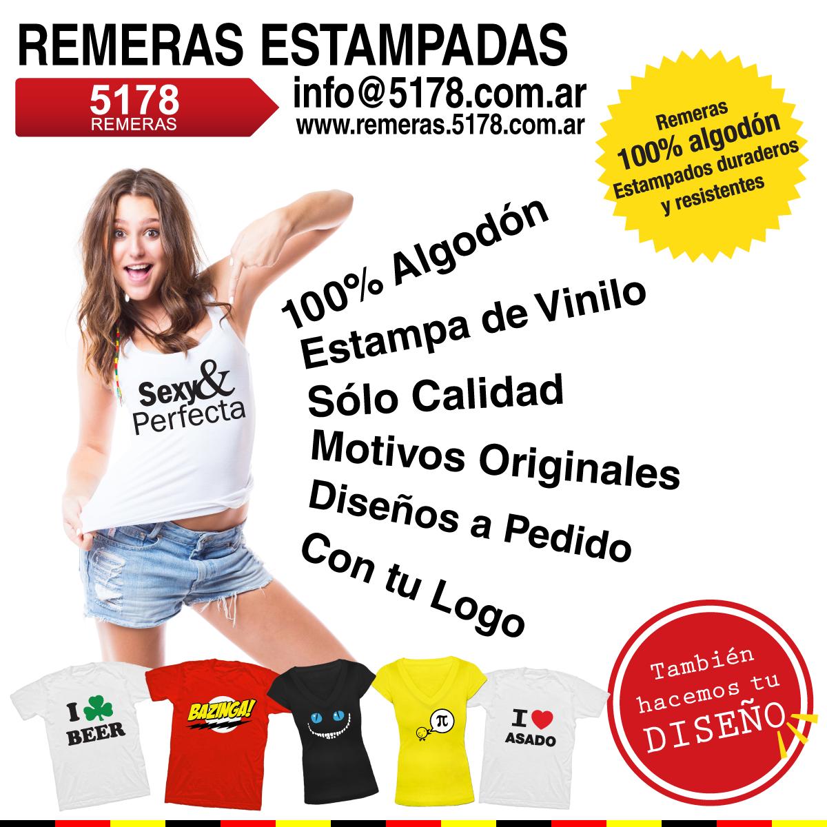 Remeras Estampadas!! El catálogo mas completo de Remeras Estampadas de Argentina:  www.remeras.5178.com.ar