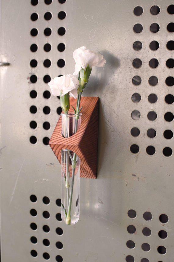 Rustic magnetic laboratory bud vase, test tube bud vase, fridge vase, industrial flower vase, reclaimed wood vase, glass from BourbonMoth on Etsy.