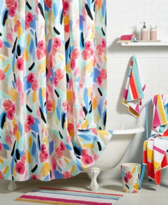 Kate Spade New York Paintball Cotton Floral Print Shower Curtain