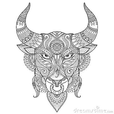 Bull Zentangle Bull Tattoos Book Tattoo Adult Coloring Pages