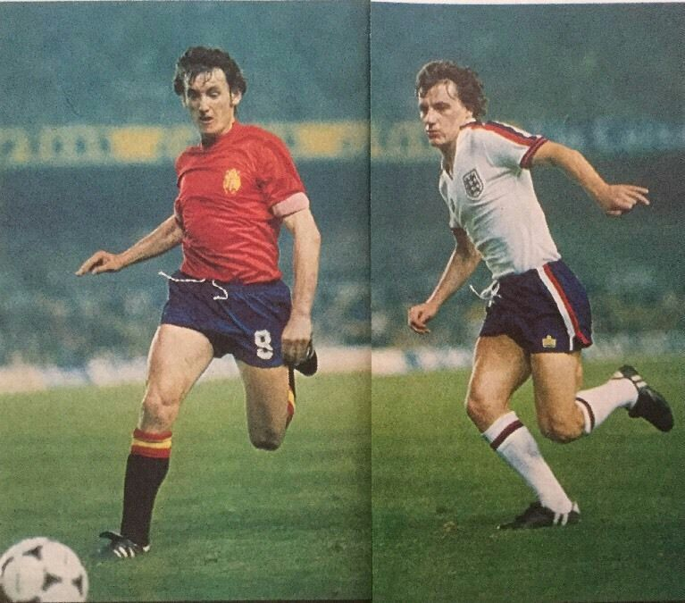 Spain 0 England 2 in March 1980 at Camp Nou. Juanito and Steve Coppell in action #Friendly
