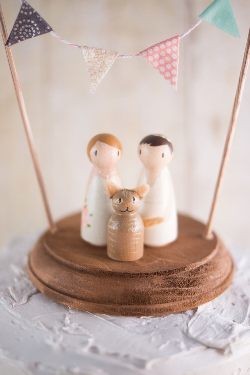Lesbian wedding cake topper with cat lesbians with cat cake topper