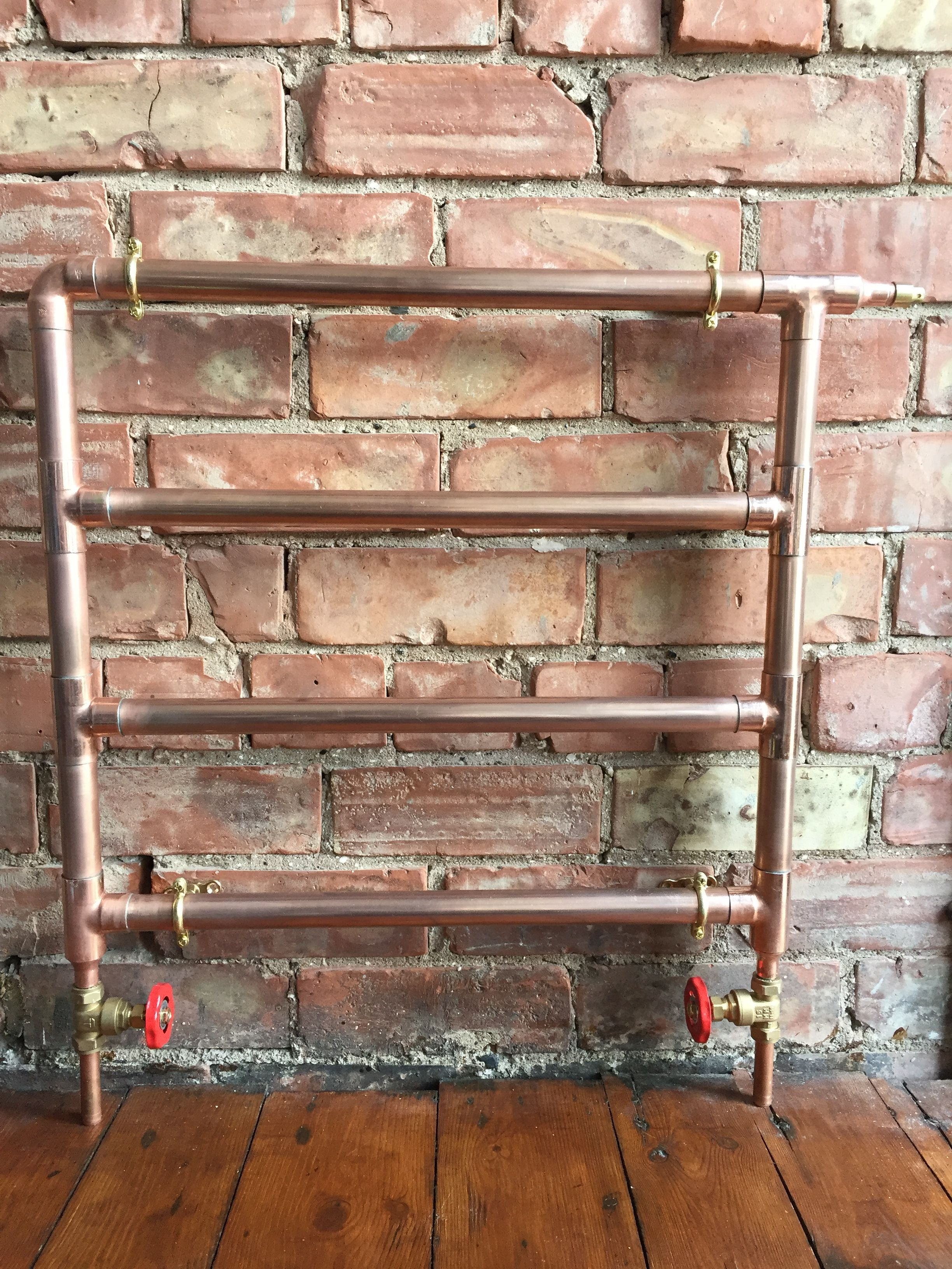 Handmade Copper Tube Radiator On Brickwork Wall Ebay 145  # Muebles Sortimo
