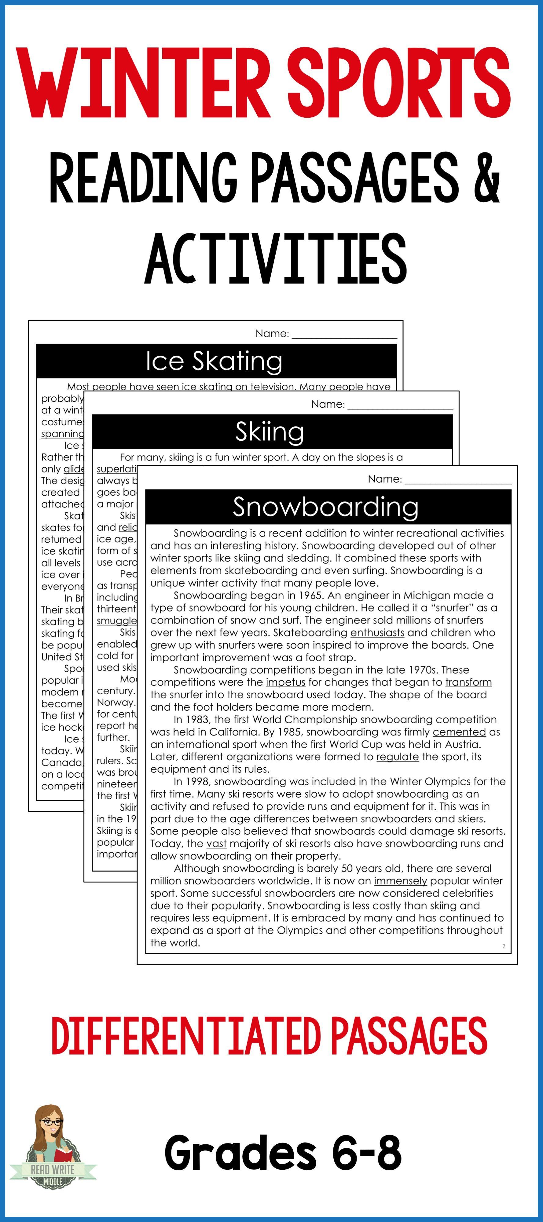 Winter Sports Differentiated Reading Passages Amp Context