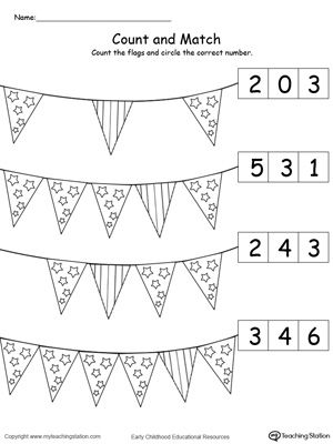 Patriotic Count and Match the Number of Flags | Printable worksheets ...