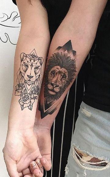 Fuerza Determinante En Tatuajes De Leones Para Parejas Arte