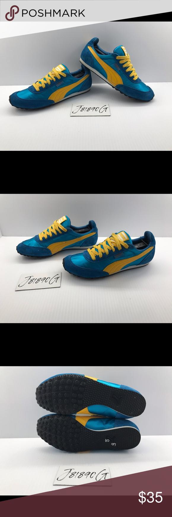 blue and yellow pumas