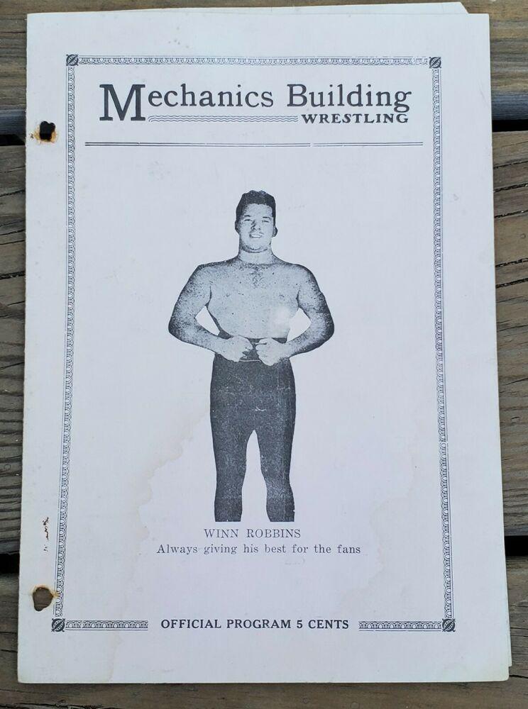 April 2 1935 mechanics building wrestling programboston