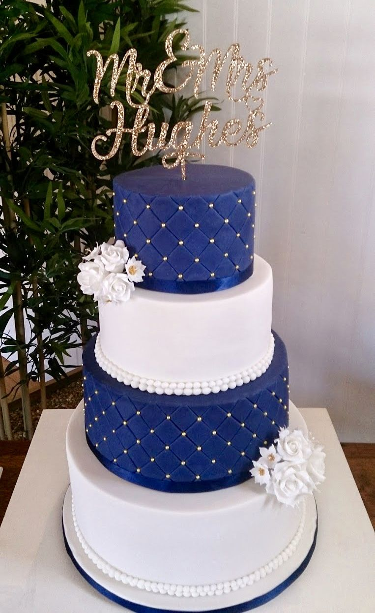 Navy Blue And White Wedding Cake With Gold Detailing Wedding Cakes Blue Elegant Wedding Cakes Royal Blue Wedding Cakes