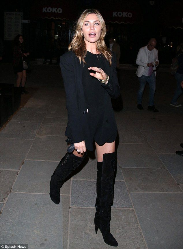 3080003a9d4 Abbey Clancy stuns in thigh-high boots on date night with Peter ...