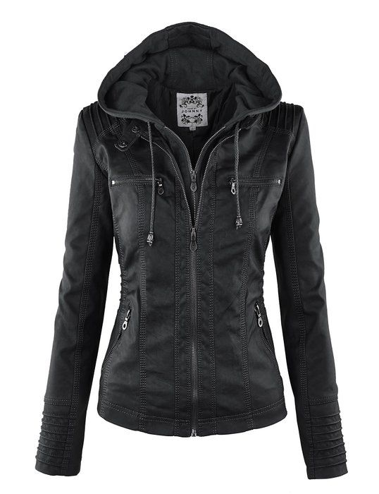 Jacket Motorcyle Xl Wjc663 Hoodie Ll Removable Womens Black lK13TJcFu5