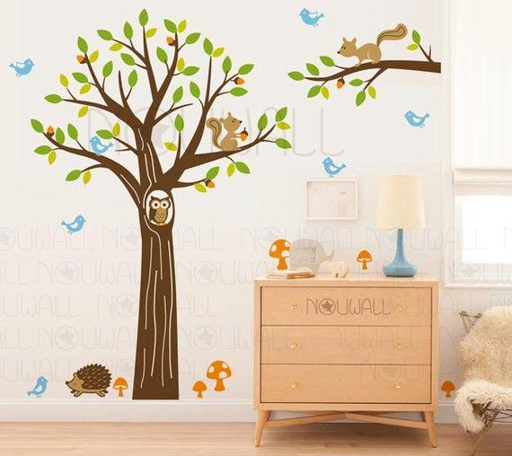 Woodland Baum Wand Aufkleber - Kinder, Kinderzimmer, Baby, Eichhörnchen, Igel & Wand Wandaufkleber, Wand Dekor - 103