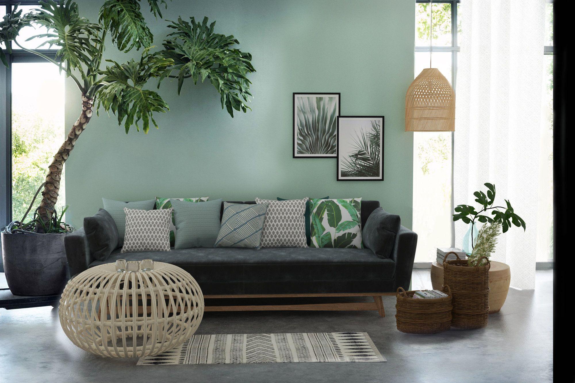 Le Vert La Couleur Incontournable De L Ete 2018 Inspiration Style Exotique Peinture Rotin Bois En Vert Beige Gris Decoration Salon Sejour Deco Salon Et Deco Maison